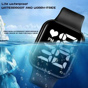 Digital Sport Watch Men Women Silicone Watches  LED Red Electronic Wristwatch
