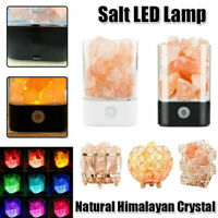 Touch Switch Salt Himalayan USB Lamp Natural Multi Color LED Air Purifier + Base