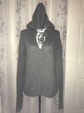 Suss 2-Ply 100% Cashmere Heather Gray Hodie V-Neck Seam w Pockets Sweater L