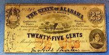 1863 25c Twenty Five Cents Alabama Note Civil War Confederate Note
