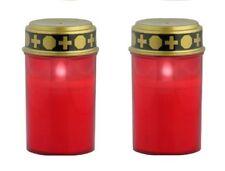 2er Set rotes LED Grablicht | Grabkerze Batteriebetrieben | Stilvolle Grablampe