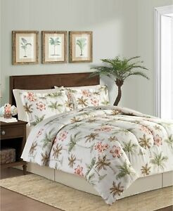 Tropical Palm Trees & Hawaiian Hibiscus Beach Twin Comforter Set 6Pc Bed In Bag