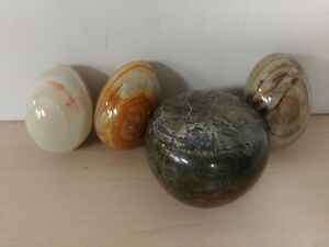 3 Stone Eggs and A Stone Paperweight  B17