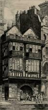 J H WILEY Signed Etching FLEET STREET LONDON c1920