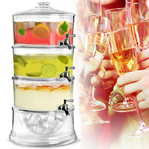 12 L BEVERAGE DRINK JUICE 3 TIER ACRYLIC DISPENSER WITH ICE STORAGE CHAMBER BASE