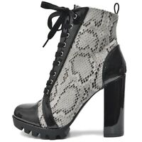 Damen Plateau Ankle Boots Stiefeletten mit Absatz Profil Sohle Lack Schlange