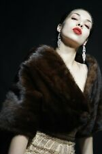 LUXURY REAL GENUINE VINTAGE BROWN MINK FUR BOLERO COAT JACKET WEDDING STOLE CAPE