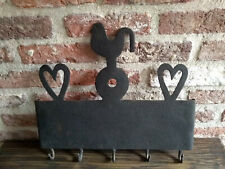 Wrought iron kitchen or fireplace rack rooster en heart decoration c.1800