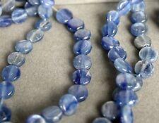 "Fine 7mm Natural Rich Blue Kyanite Gemstone Coin Lentil Bead 16"" Strand 858"