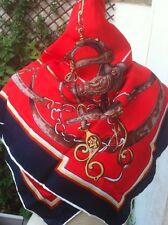 J. d'Ormont Paris foulard vintage motif selle et étrier rouge et marine