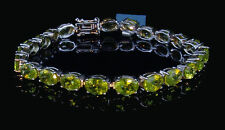 "19.00cts Genuine Hunan Peridot 925 Solid Sterling Silver Bracelet, 7"" Length"