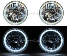 "7"" SMD White LED Halo Angel Eye H4 6000K HID Headlamp Headlight Light Bulb Pair"
