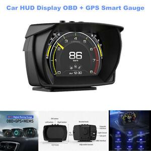 Car HUD Display OBD + GPS Smart Gauge Speed KM/H RPM Voltage Digital Speedometer