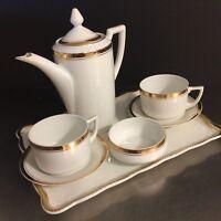 Union K Czecho- Slovakia Tea Set Porcelain Gold Doll Size Set 8 VTG 1920s China