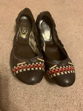 Tod's Ladies Brown Leather Weave Ballet Flat Shoes Size 11