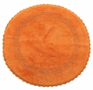 36 Inch Round, Reversible, Cotton, Hand Knitted Crochet Lace bath Rug, Orange