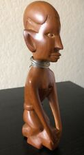 Vintage Hand Carved Wood Statue 8� of African Tribal Woman Silver Wire Necklace