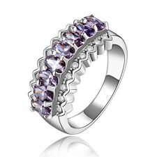 Elegant Trendy Fashion Size 9 Luxury Amethyst 18K Gold Filled For Woman's Rings