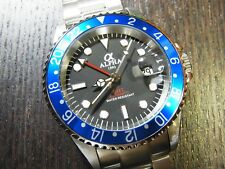 ALPHA GMT-MASTER BLUEBARRY INSERT BLACK DIAL AUTOMATIC WATCH*Ebay Lowest Price*