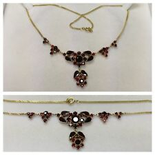 Garnet Necklace Garnet Collier Necklace in 333 Gold and Pendant 925 Silver