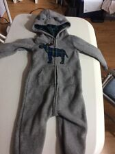 Carters Sz 18 Month Long Sleeve Fleece One-Piece w/Hood ~Gray w/Blue Plaid Moose