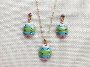 Hand Painted  Easter Egg  Necklace  & Earrings Set ,Easter Day Gift Jewelry Set