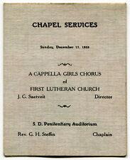 "1933 South Dakota Prison Item: ""Chapel Services"" Program Folder"