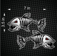 (2) Digital Skeleton Fish Vinyl Decals for Boat Fishing graphics Bone sticker