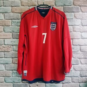 David Beckham World Cup 2002 England long sleeve jersey shirt size M/L
