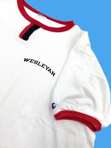 Vintage 80s Wesleyan University Cardinals White  Spell Out Champion Shirt
