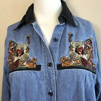 Bobbie Brooks Ladies Small Blue Jean Blouse Christmas Velvet Collar Embroidered