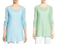 * NWT EILEEN FISHER Organic Linen RoundNeck Sweater top Celadon Windflower Blue