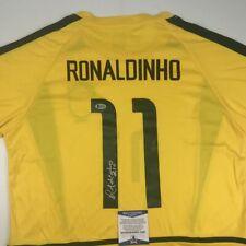 Autographed/Signed RONALDINHO Brazil Yellow Soccer Jersey Beckett BAS COA