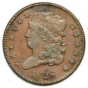 1828 C-1 Classic Head Half Cent Coin 1/2c