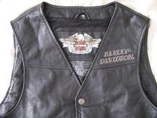 Harley Davidson Motorcycle Leather Vest H-D Biker Blazing Bones Flaming Skull M
