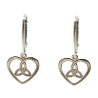 FASHIONS FOREVER® 925 Sterling Silver Trinity-Celtic-Heart Leverback Earrings