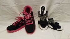 Curves For Women Lot Black And Pink Lace ups Black And White Sandals. EUC