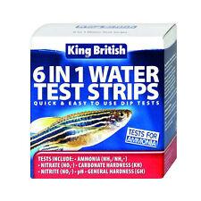 King British 6 en 1 Tiras de Prueba de Agua Acuario & estanques amnonia nitrato ph gh kh