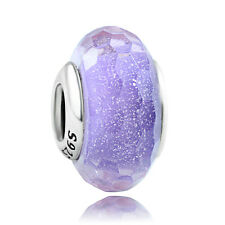 925 sterling silver Rapunzel Purple Shimmer Murano Glass Bead Charm fit bracelet