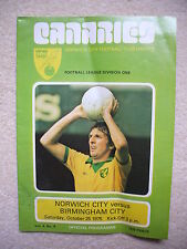 Norwich City v Birmingham City Football Programme 1975/1976