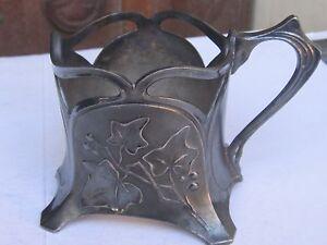 WMF Ivy, Art Nouveau Tea glass holder / silver plated,dark patina- 1900s