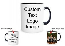 Personalized Coffee Mug Customized Ceramic Glass Custom Text Your Image Blk Rim