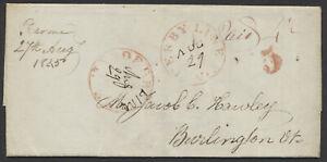 1845 Cross Border SFL, Brome Quebec to Burlington VT, Manuscript Postmark