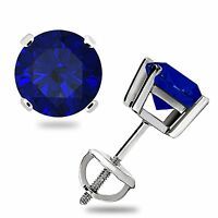 1.0Ct Blue Sapphire Basket Solitaire Stud Earrings Screw Back 14k White Gold 5mm