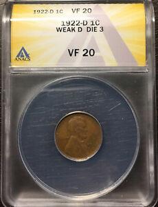 1922-D Die 3 Weak ANACS VF 20
