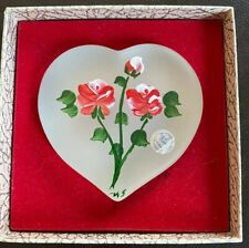 New listing Vintage L E Smith Frosted Glass Paperweight Heart, Hand Painted Roses With Box
