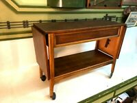 Vintage Mid Century Modern MCM Lane Danish Buffet Drop Leaf Server Cart Table