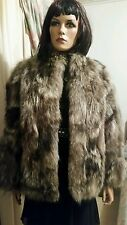 Vintage Genuine American Silver Brown Raccoon Fox Fur Stroller Coat Jacket S8-10