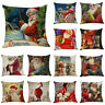 "Christmas Eve Pillow Case Festive Winter Holiday Santa Claus Cushion Cover 18"""
