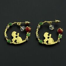 Stunning Beauty And The Beast Inspired Hoop Earring Belle, The Beast & Red Rose